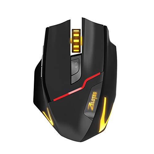 KERULA ZELOTES F 18 Dual Modus Gaming Maus6 Level 3200DPI 500 Hz Kabelgebunden / Kabellos 7 FarbenMaus Computer Ergonomische Leise Tragbar Mouse Wiederaufladbar MäUse Tasten Mit ()