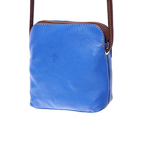 Tracollina unisex in pelle 8609 (Blu elettrico-marrone)