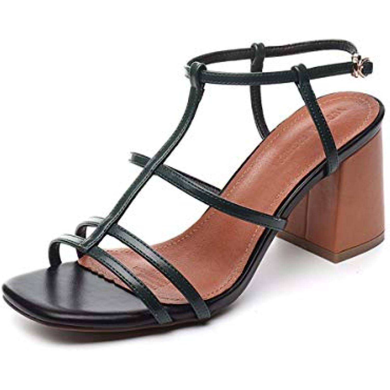 HBDLH Chaussures pour Femmes Summer R eacute;tro eacute;tro eacute;tro Square des Talons Mode Buckles Ouvre Les Orteils 8Cm Talons Hauts B07GXGSYBC - 9a357e