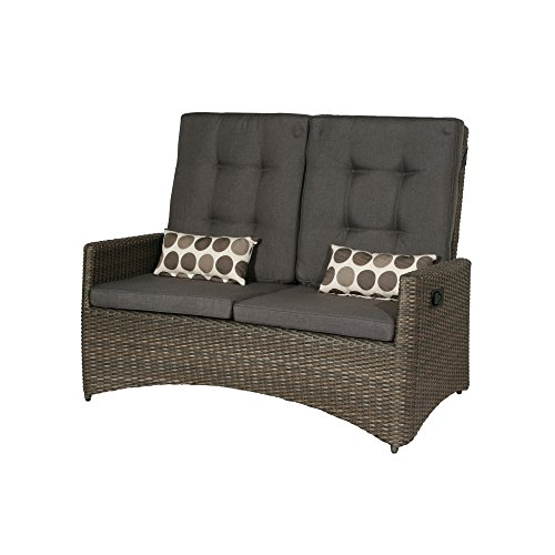 Siena Garden Lounge 2er Sofa Teramo, 87x147x108cm, Gestell: Aluminium, Fläche: Gardino-Geflecht in bronze, Kissenbezug aus Polypropylen mit 280g/m² in grau-braun