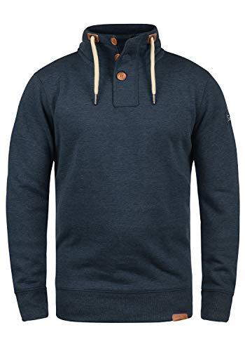 !Solid TripTroyer Herren Sweatshirt Pullover Troyer Pulli Mit Stehkragen Und Knopfverschluss, Größe:XL, Farbe:Insignia Blue Melange (8991)