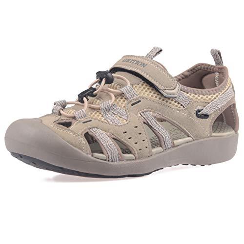 GRITION Damen Sandalen Sommer Geschlossene Outdoor Athletisch Klettverschluss Verstellbaren Wandern Zehe Wasser Schuhe Abenteuerlichen Sport Trekking Trail Sandale Beige MEHRWEG (40 EU) -