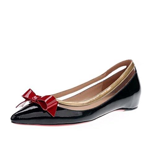 Arc-en-Ciel Damenschuhe spitzen Zehe Lackleder flache Black