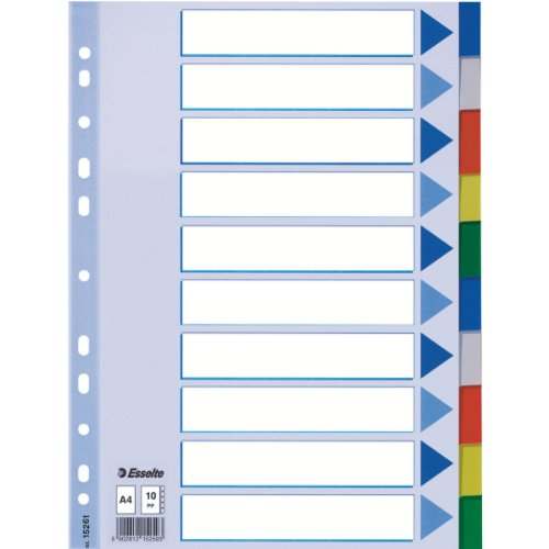 Esselte-Leitz 15261 Plastikregister Blanko, A4, PP, 10 Blatt, farbig