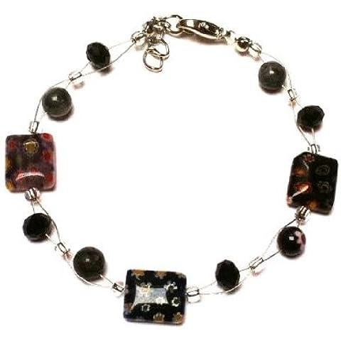 Chic-Net perle di Murano braccialetto di vetro nero fiori colorati rettangolo Glitter 18-20 cm moschettone nickel free