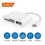 SD-Kartenleser 3 in 1 Lightning zu USB-Kamera-Anschluss-Kit SD / TF-Kartenleser, Trail Game-Kamera SD-Kartenleser, Lightning zu USB 2.0 OTG-Adapterkabel für iPhone und iPad
