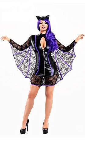 Batgirl Erwachsene Plus Kostüm Für - FHSIANN Halloween Cosplay Batman Kostüm Sexy PVC Schwarz Spitze Mesh Mini Kleid Batgirl Clubwear FetischKostümFür Erwachsene Frauen
