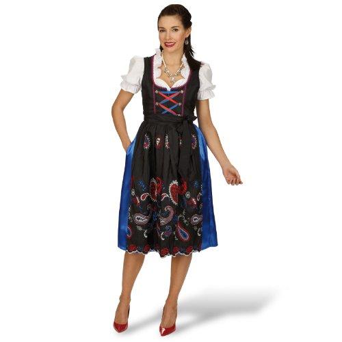 Dirndl Annelie Trachten Kleid Exklusiv 3 tlg Dirndl Bluse Schürze mit Stickerei Mehrfarbig