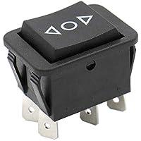 Heschen interruptor oscilante momentáneo 16A 250VAC ON-OFF-ON DPDT 6 terminales negro 2Pack