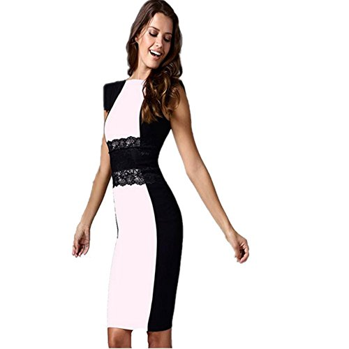 HXX Robe pour dames Slim col rond manches courtes printemps été polyester (blanc) green