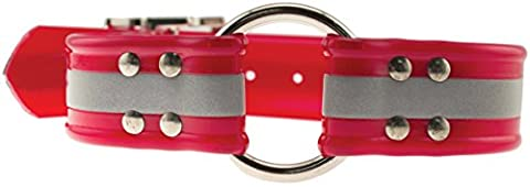 OmniPet Sunglo Reflective Ring In Center Dog Collar, Red, 1.5