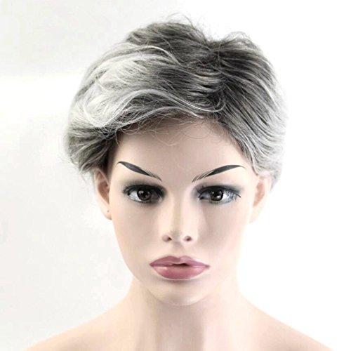 20,3cm kurz gelockt Mix grau Frauen Perücken Schwarz Weiß Farben hitzebeständig Haar Faser
