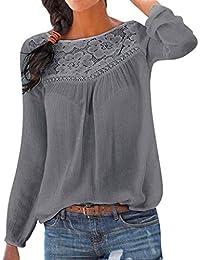 URSING Damen Casual Lange Ärmel Spitze Patchwork Tops Rundhals Bluse Tshirt  Hemd Schöne Oberteile Tops Elegant Langarmshirt Pullover… 8504159de9