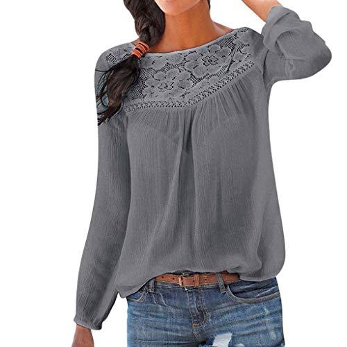 MORCHAN Chemisier Femme Dentelle Tunique Haut Femme Chic Manches Longues Tops Blouse Pull Col Rond Patchwork T Shirt Casual T-Shirt Chemisier Blous