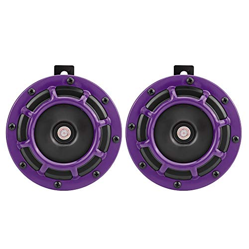 Motorcycle Lautsprecher Autolautsprecher, 12V Universal Automobile Modified Horn Lautsprecher Klaxon Loudspeaker (Purple)
