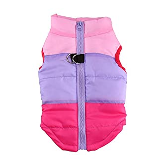 Doggie Style Store Pink Purple Rose Dog Pet Puppy Puffer Warm Winter Padded Quilted Vest Coat Jacket Size XS 12