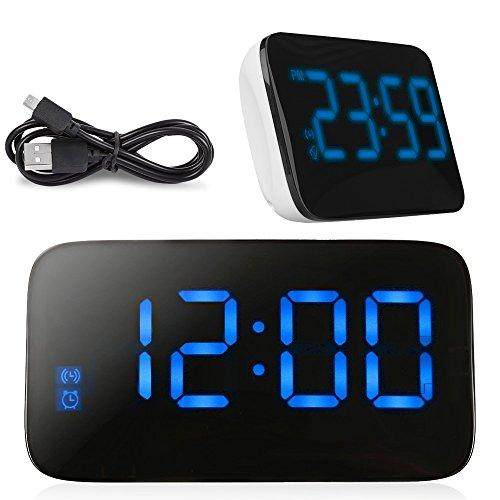 LED Wecker, HUMTUS Alarm Uhr, Digitalwecker, Großer Bildschirm Digitaluhr Sound Control Wecker mit Snooze und Alarm Funktion durch USB Kabel oder 4 x AAA Batterien für Schreibtisch / Nachttisch
