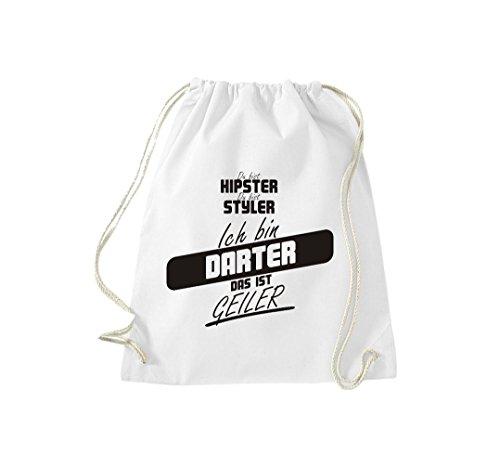 Shirtstown Turnbeutel du bist hipster du bist styler ich bin Darter das ist geiler weiss
