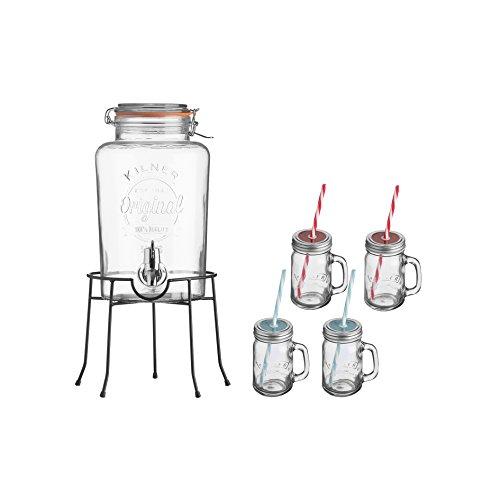 Kilner - Getränkespender - Geschenkset - 14- teiliges Set - Getränkespender, Ständer, 4 x Gläser mit Schraubverschluss - 4 x Trinkhalme