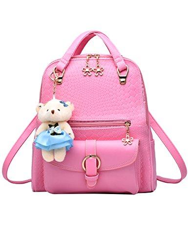 Menschwear PU Zaino Satchel Daypack sacchetto di scuola Bianco Rosa