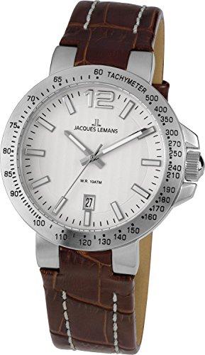 Jacques Lemans Herren-Armbanduhr XL Milano Analog Leder 1-1718B