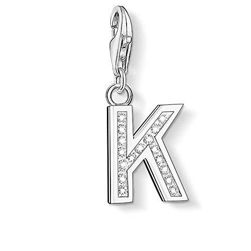 Thomas Sabo Damen-Charm Club-Anhänger Buchstabe K 925er Sterlingsilber mit weißen Zirkonia 0233-051-14