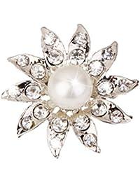 Broche Cristalino Girasol Perlas de Imitación para Novia Boda Nupcial