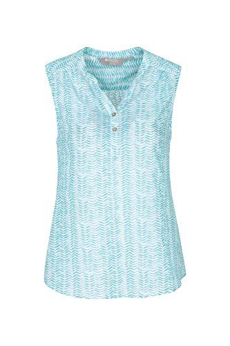 Mountain Warehouse Petra Ärmelloses Damenhemd - Sommeroberteil aus 100% Baumwollvoile, geblümte Damenbluse, leichtes Freizeithemd - Für Reisen, Camping, Alltag Minze DE 32 (EU 34) - Safari-grün-erwachsenen-shirt