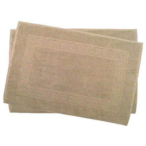 2er Pack 50 x 80 cm Julie Julsen Badvorleger in Premium Qualität 900 gm2 in aktuellen Farben und 4 Größen aus Baumwolle Badematte Badteppich Duschvorleger Design Spirale Sand