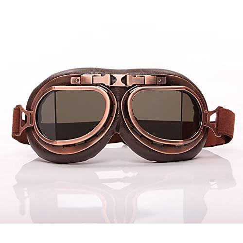 MPNP Motorradbrillen, Motorradbrille Outdoor-Sportretgläser Bronze Harley Helm aus dem Zweiten Weltkrieg mit Glasbrille Winddichte Staubbrille,D -