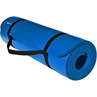 AmazonBasics Extra Thick Exercise Yoga Gym Floor Mat with Carrying Strap - 74 x 24 x .5 Inches, Blue