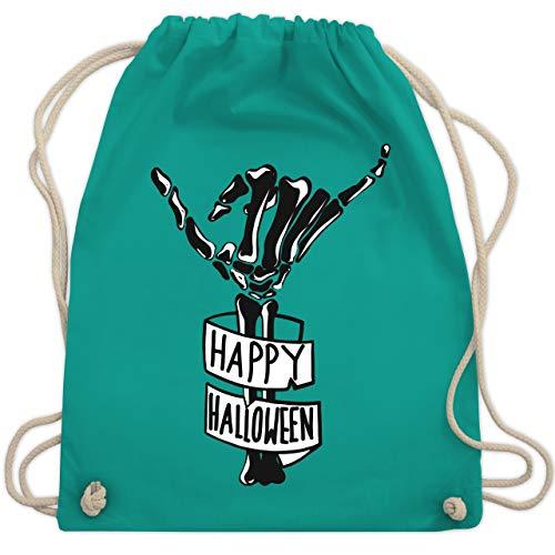 Halloween - Happy Halloween Skelett Hand - Unisize - Türkis - WM110 - Turnbeutel & Gym Bag