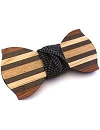GIGETTO Papillon in legno fatto a mano con nodo in tessuto grigio scuro. Farfallino artigianale. Cinturino regolabile in stoffa. Limited Edition DANDY