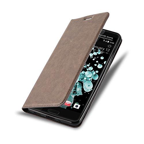 Cadorabo Hülle für HTC U Ultra - Hülle in Kaffee BRAUN - Handyhülle mit Magnetverschluss, Standfunktion & Kartenfach - Case Cover Schutzhülle Etui Tasche Book Klapp Style