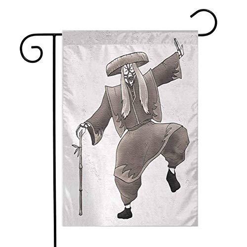 Ahaltao Hausgarten Flagge Kabuki Maske Oriental Style Künstler mit Make Up und Kostüm Pose Dance Ancient Artwork Wetterbeständig und doppelt genäht Umber White