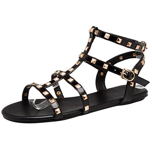 Heheja donna sandali peep toe basse piatto sandali da spiaggia tempo libero comodo scarpe estive nero asia 39 (24.5cm)