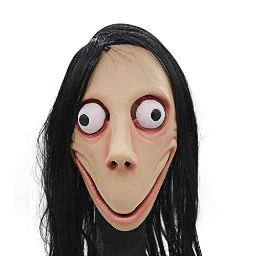 xuanyuan524 Halloween-Maske, gruseliges Latex MOMO Horror-Kostüm-Maske zuerst und nur Weiche und Bequeme Latexmaske für Erwachsene und Kinder