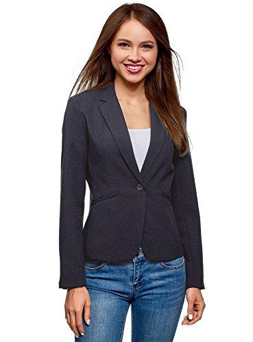 oodji Ultra Damen Taillierter Blazer Basic, Blau, DE 34 / EU 36 / XS