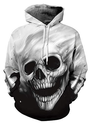 AMOMA Weihnachtsserie Digitaldruck Athletische Strickjacken Hoodie Kapuzenpullover(Small/Medium,White Skull) - 54 In Pullover