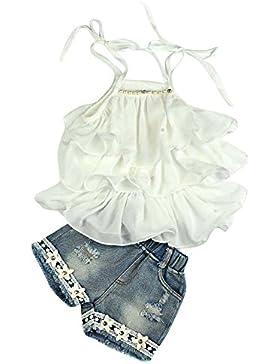 Covermason Niña Gasa Perla Chaleco Camisa y Vaquero Pantalones cortos(1 Conjunto)