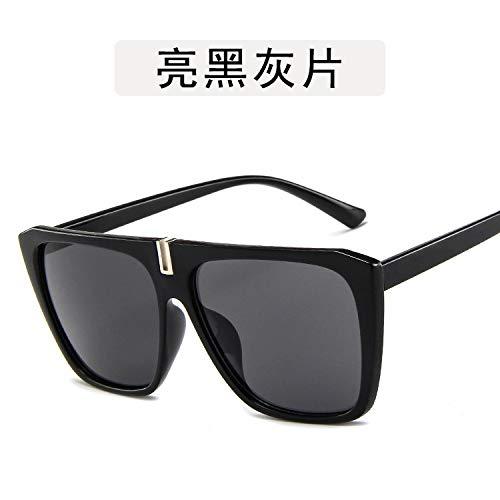 Yangjing-hl Herren- und Damensonnenbrillen Persönlichkeitssonnenbrillen Große quadratische Damenbrille Hellschwarzgrau