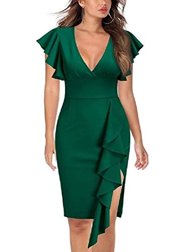CuteRose Women Evening Flounced Pure Color Stretch Bodycon Bandage Dresses Green XS Old Navy Stretch Kleid