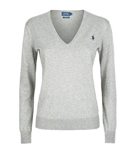 Polo Ralph Lauren Damen Pullover Eloise Pima Cotton Hellgrau (M) (Ralph Lauren Polo Pullover)