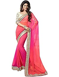 PRAMUKH STORE 2D Saree For Women's Georgette Saree With Blouse Piece, Pink And Red Color Saree, New Design Sarees...