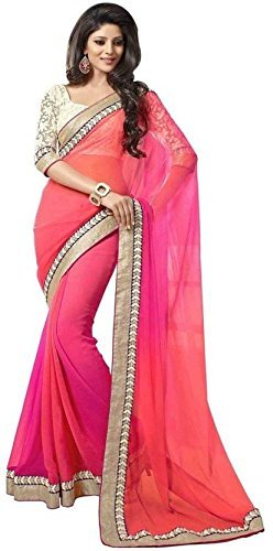 PRAMUKH STORE 2D Saree For Women\'s Georgette Saree With Blouse Piece, Pink and Red Color Saree, New Design sarees, Latest Collection Sarees 2018