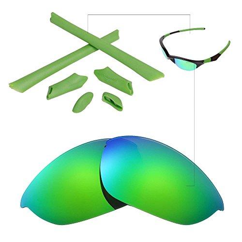 Walleva Polarisierte Linsen und Gummi-Kit (Earsocks + Nosepads) Für Oakley Half Jacket (Emerald Polarisierte Linsen + Grün Gummi)