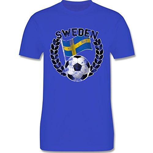 EM 2016 - Frankreich - Sweden Flagge & Fußball Vintage - Herren Premium T-Shirt Royalblau