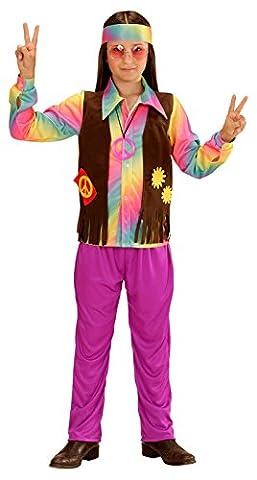 WIDMANN 73346–Les enfants Costume Hippie les jeunes, T-shirt, angenähte Gilet, pantalon et bandeau,