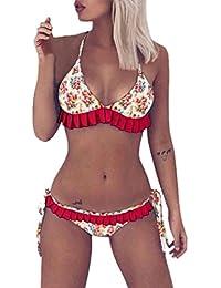 Longra❤Bikini con volantes florales coloridos, verano traje de baño acolchado push-up popular bañador ropa de…