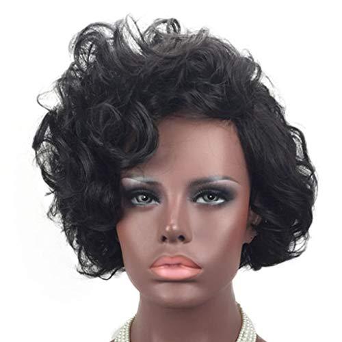iges Kurzes Lockiges Haar Schwarze Perücke Slanted Bangs Big Waves Hochtemperatur Seide Rose Haarnetz Einstellbare Jugend Schöne Sexy Realistische Natürliche Haarlänge 36 cm ()